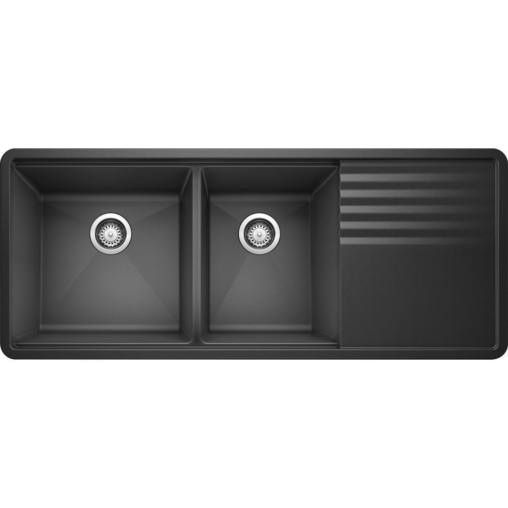 Blanco Precis Undermount Granite Composite 48 In 60 40 Double Bowl Kitchen Sink With Drainer In Anthracite 440408 The Home Depot In 2020 Double Bowl Kitchen Sink Granite Composite Sinks Undermount Kitchen Sinks