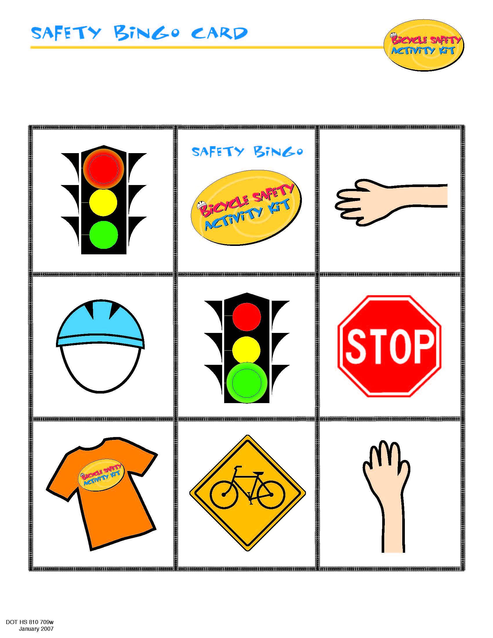 Bike Safety Bingo Card Staying Safe (Summer Camp