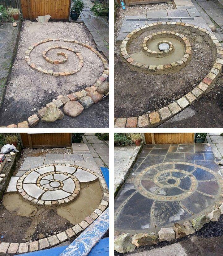 Mosaic Garden Stones: Spiral Design On A Walkway How To
