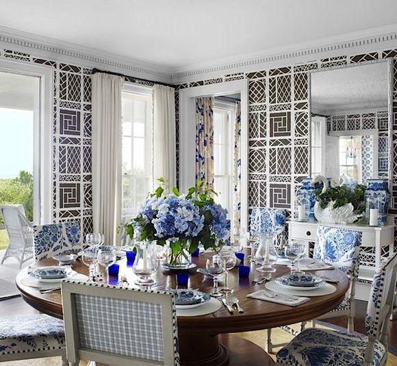 Beach house...traditional...A Divine Dining Room. Interior Design: Tom Scheerer.