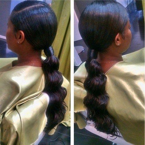 Black Formal Ponytail For Relaxed Hair Black Ponytail Hairstyles Long Ponytail Hairstyles Relaxed Hair