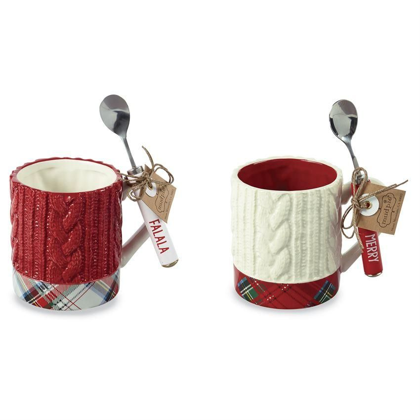 Tartan Cable Knit Mug Sets, 2 Styles Mugs set, Mugs, Tartan