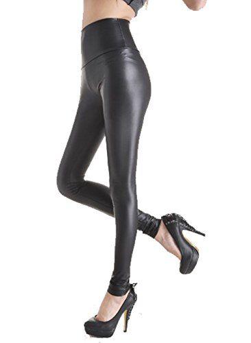 7d9c33853fbcad Ts Women Sexy Fashion Liquid Stretchy High Waist Thin Faux Leather Leggings  (2PCS M) at Amazon Women's Clothing store:
