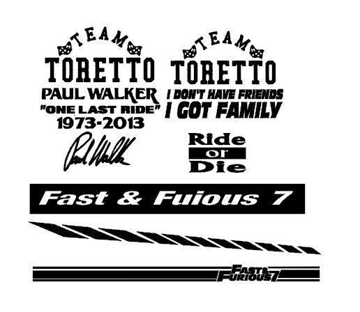 10 x fast furious stickers vinyl large car decal rip paul walker ride or die