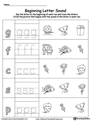 trace and match beginning letter sound in words worksheets phonics and homeschool. Black Bedroom Furniture Sets. Home Design Ideas