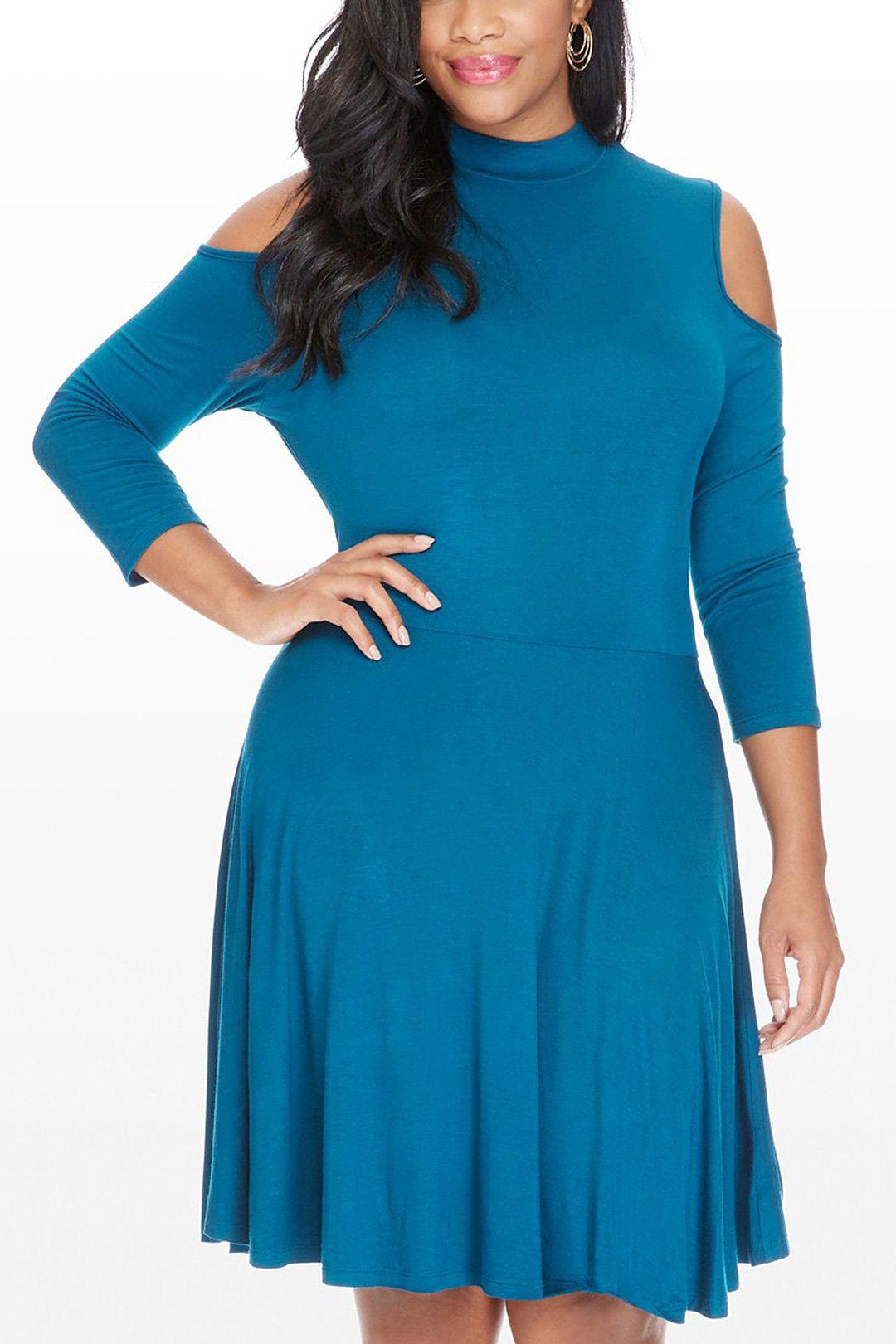 Plus Size Cold Shoulder Dress in Medium Blue - US$21.95 -YOINS