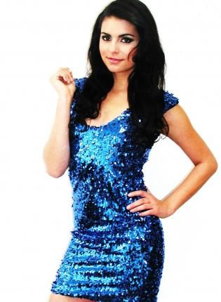 Plus Size Blue Bombshell Sleeveless Sequin Dress Dress Party Dress