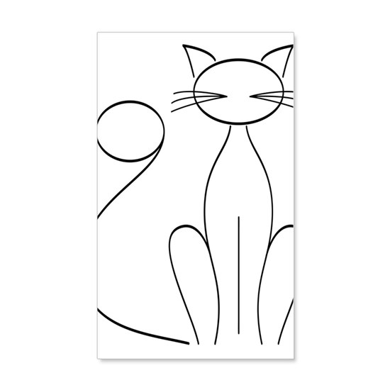 Abstract Cat Line Drawing Wall Decal by Soaring Simple - CafePress