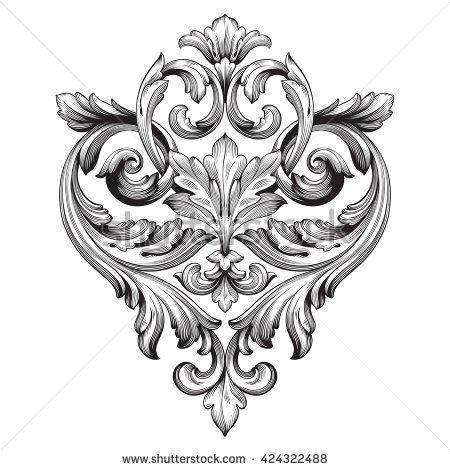 Vintage baroque ornament retro pattern antique style for Baroque design elements