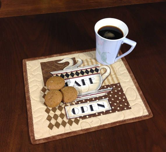 Quilted Snack Mat, Coffee Theme Mug Rug, Mini Placemat