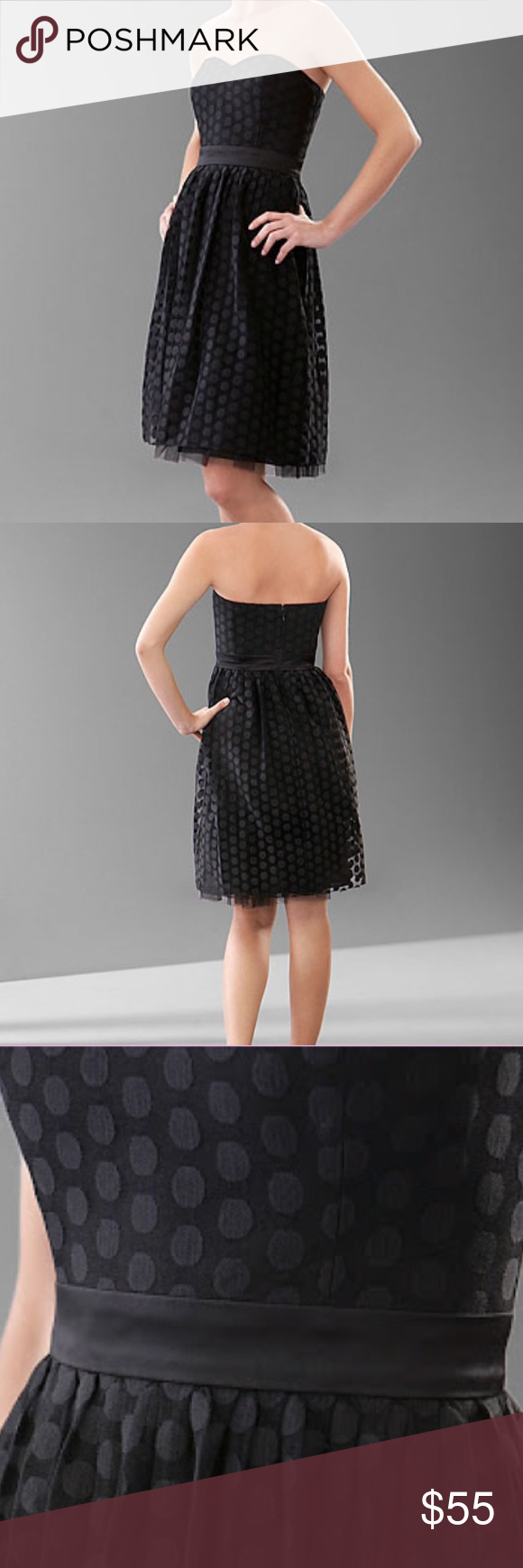 """White House Black Market Strapless Dot Lace Dress Size : 0. Excellent condition, no signs of wear. Length approx 31"""". Great prom, graduation or any occasion dress. Note: Shoes pictured are for sale in my closet as well. White House Black Market Dresses Strapless"""