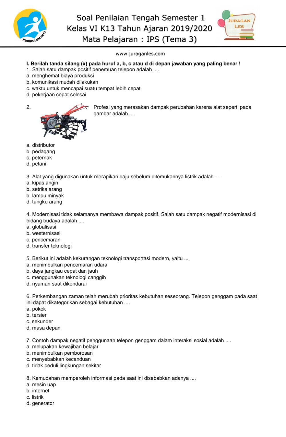 Soal Ips Kelas 6 Semester 1 Tema3 Pdf Google Drive Belajar Kepala Sekolah Kurikulum