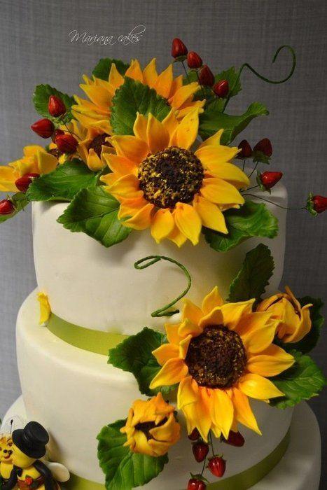 wedding sunflowers cakes by mariana CakesDecorcom cake
