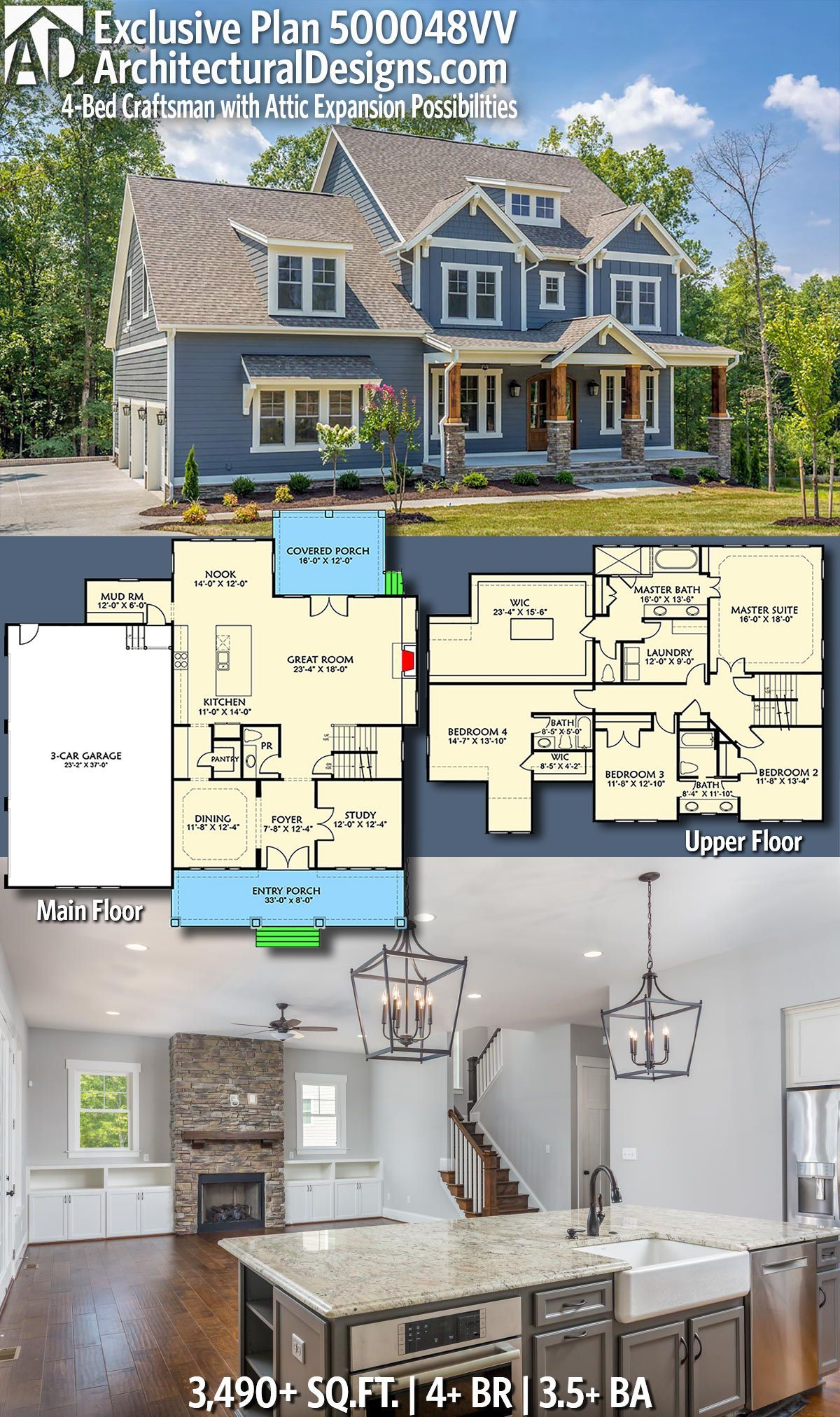 House Plan 500048vv Covered Porch To Screen Porch With Porch Above For Master Space Above Garage To Bonus S Craftsman House Plans Craftsman House House Plans