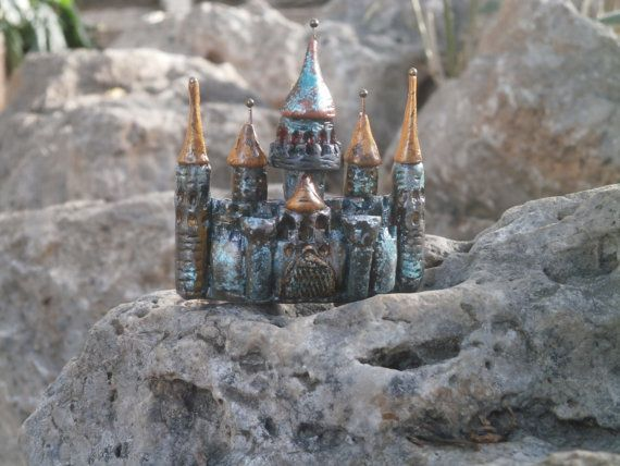 Old castle polymer clay brooch