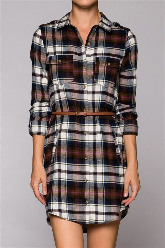 Plaid Print Belted Button Down Long Sleeve Shirt Flannel