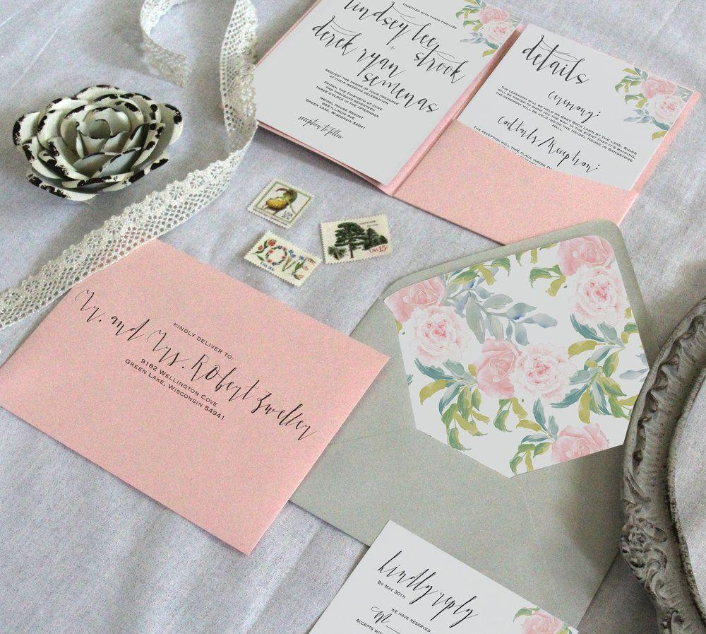 Blush floral wedding invitations. Natural peonies wedding invitation ...