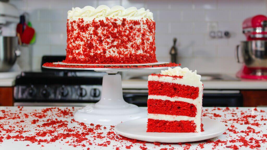 Red Velvet Layer Cake With Cream Cheese Frosting Recipe Cake Cake With Cream Cheese Cake Recipes