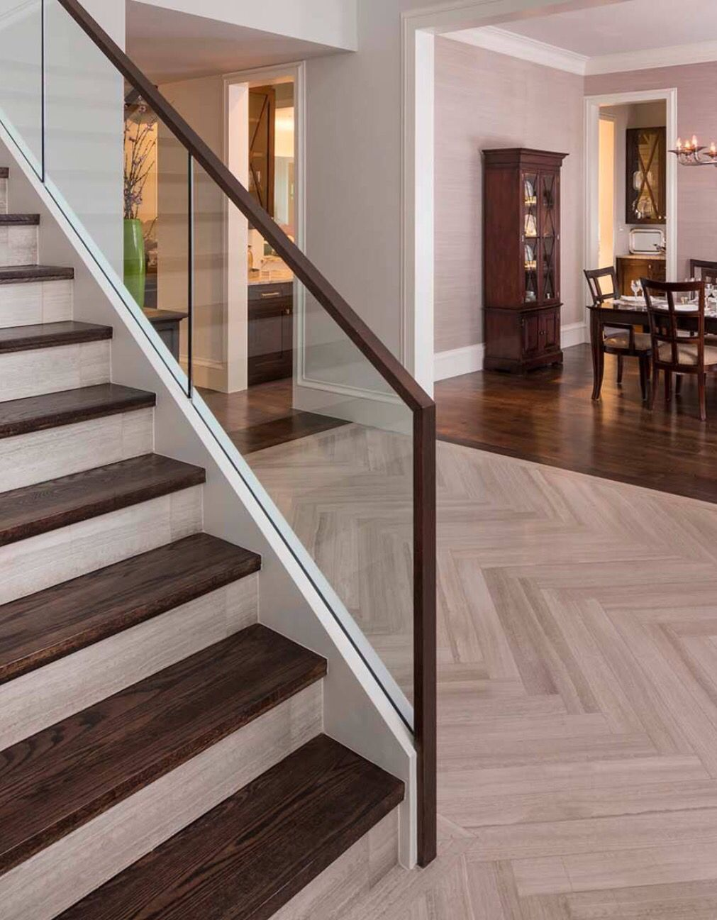 Tile And Wood On Stairs Interior Stair Railing Stair | Wooden Stairs Railing Design With Glass