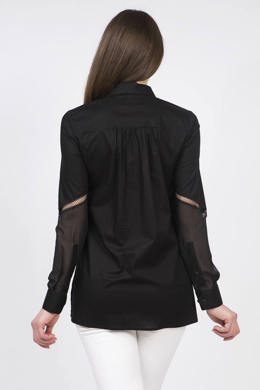 Serpil Exclusive Kadin Giyim Markasi Online Alisveris Sitesi Kollari Serit Detayli Siyah Gomlek Kadin Giyim Giyim Kadin