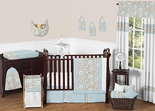 Blue and Taupe Hayden Gender Neutral Baby Bedding 11pc Girl or Boy Crib Set without bumper, http://smile.amazon.com/dp/B019J2DNO4/ref=cm_sw_r_pi_awdm_ZPd1wb0X5D7NV