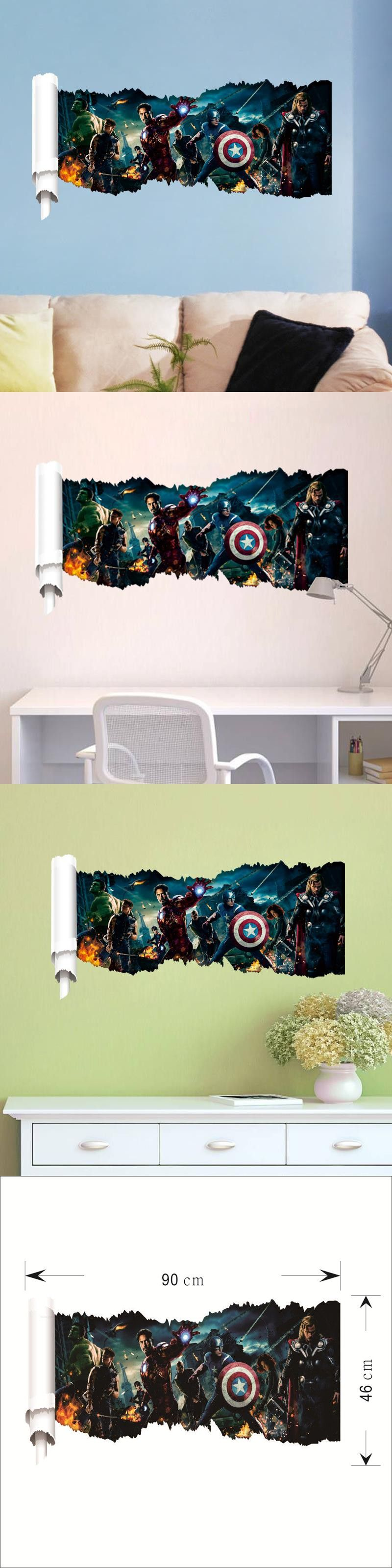 Super hero america captain wall stickers decor 1432. diy kids bedroom home decals removable cartoon movie mural art posters 3.5 $7.93