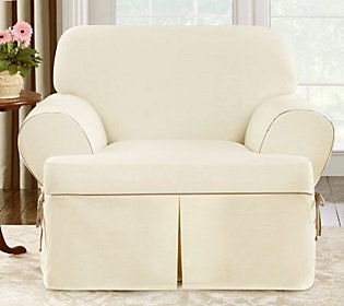 Terrific Sure Fit Cvc Duck 1 Piece T Cushion Chair Slipcover Qvc Pdpeps Interior Chair Design Pdpepsorg