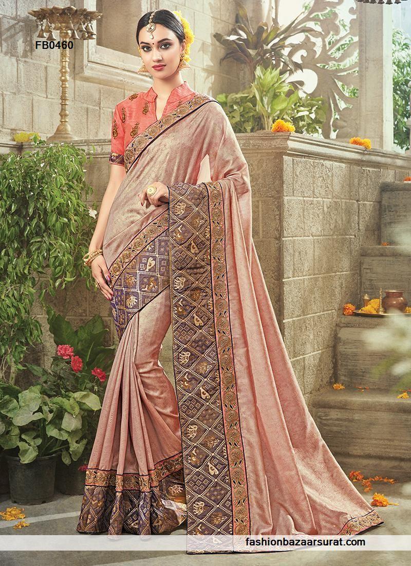 f5d6bcfbe21 Indian ethnic wear online shopping site. Buy designer sarees. Order this  Sensational Salmon Fancy Fabric Designer Saree.