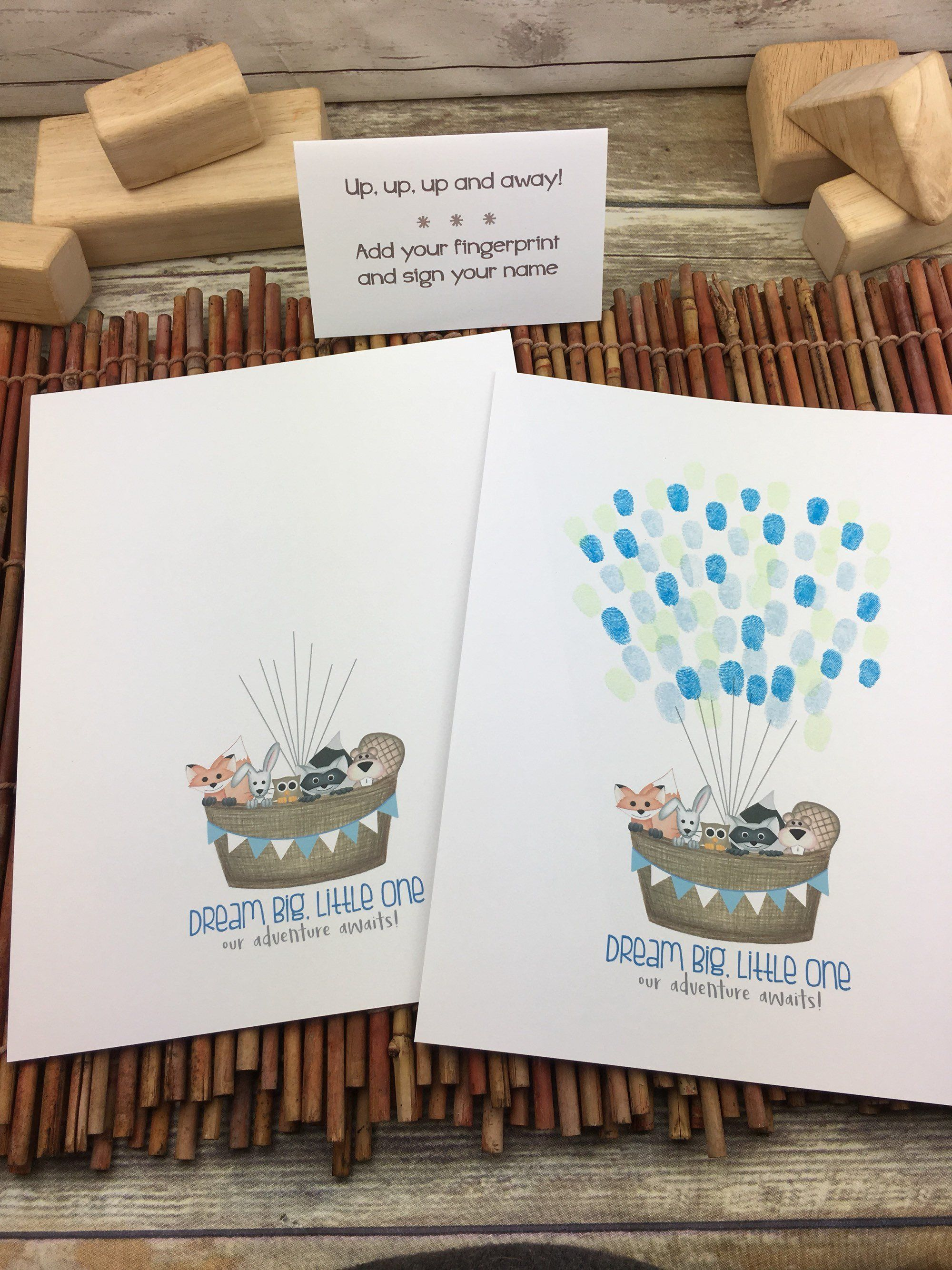 INSTANT DOWNLOAD boy's hot air balloon thumbprint guestbook