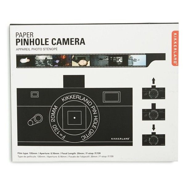 Kikkerland Design Junior Kikkerland Design Paper Pinhole Camera ($11) ❤ liked on Polyvore featuring home, home decor, multi, black home decor and kikkerland