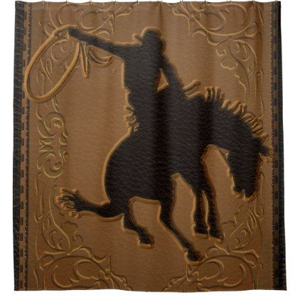 Leather Western Wild West Rustic Country Cowboy Shower Curtain