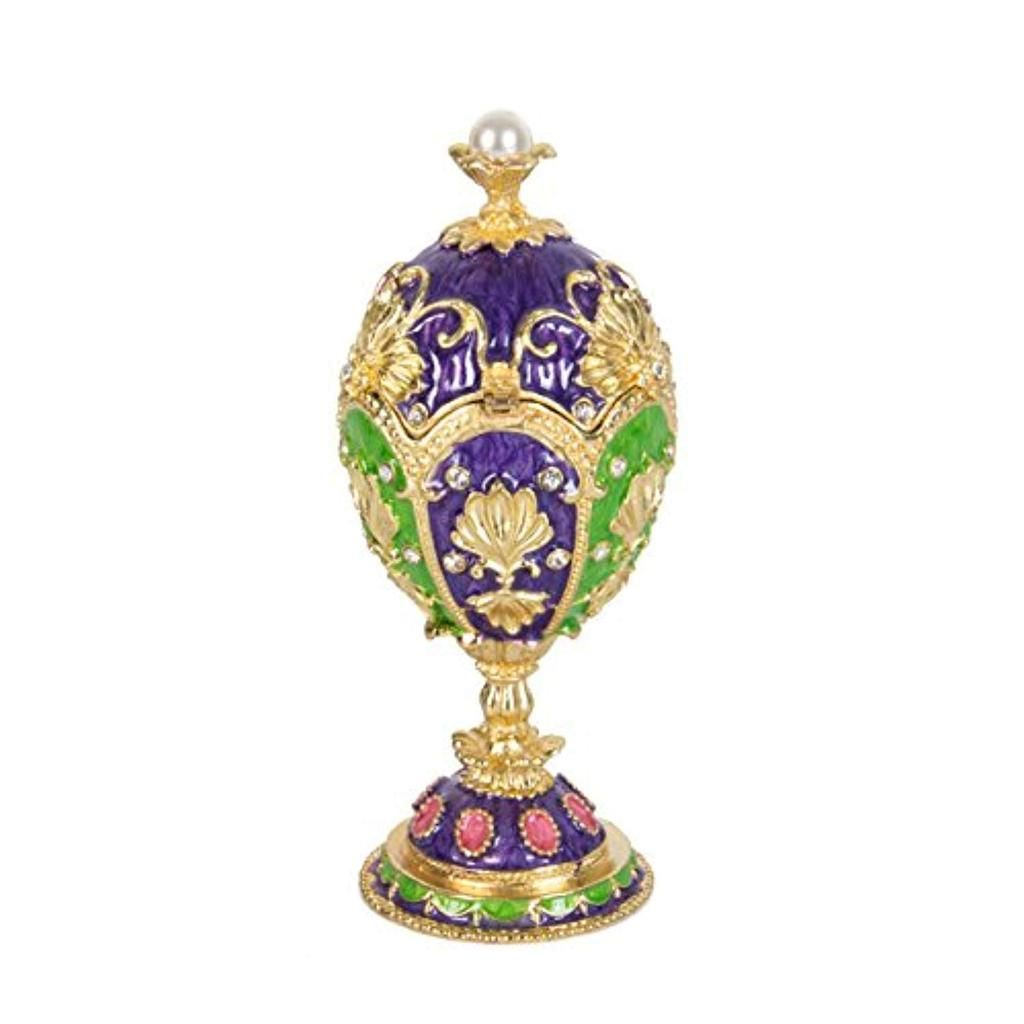 QIFU-Hand Painted Enameled Small Faberge Egg Style Decorative Hinged Jewelry Trinket Box Unique Gift For Home Decor