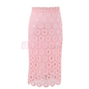 Circle Gauze Sheath Knee-Length Skirt Pink Skirts on fashionsure.com
