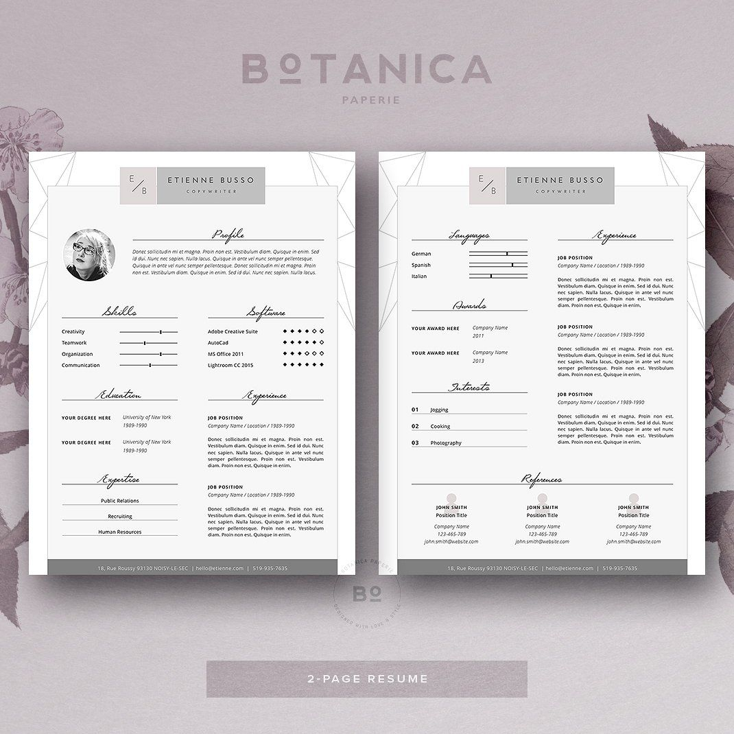 Attractive Stylish Resume Template 4 MS Word U2022 Available Here →  Https://creativemarket.com/BotanicaPaperie/788251 Stylish Resume Template  4 MS Word?uu003dpxcr