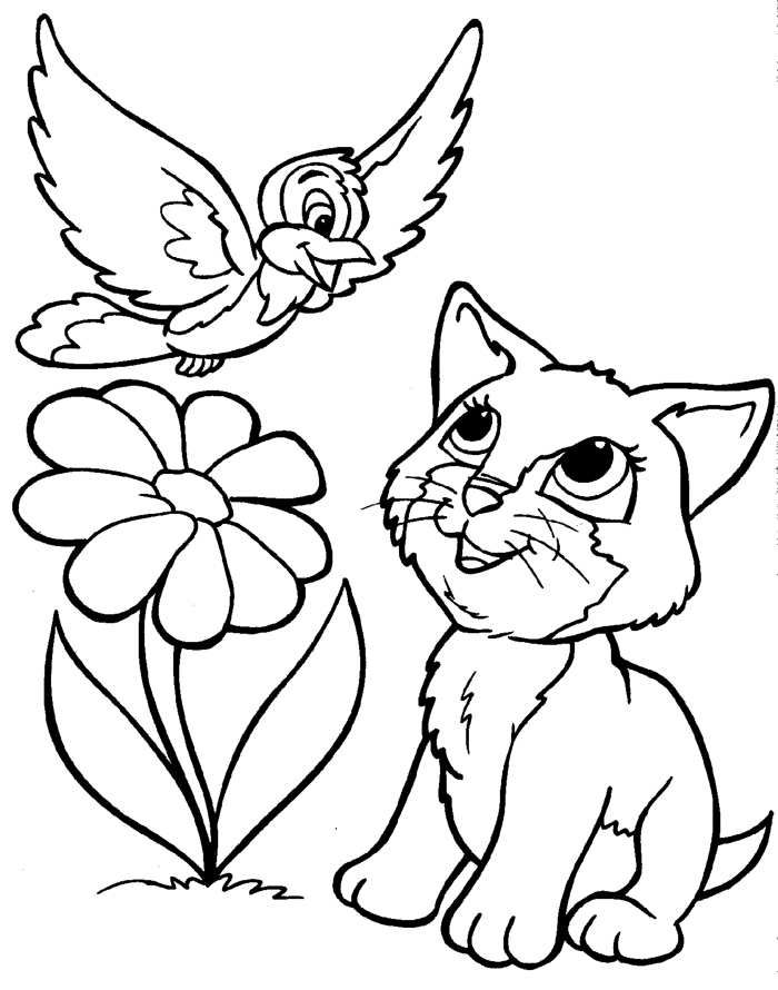 Coloring Pages Of Puppies And Kittens 566 Free Printable Bird