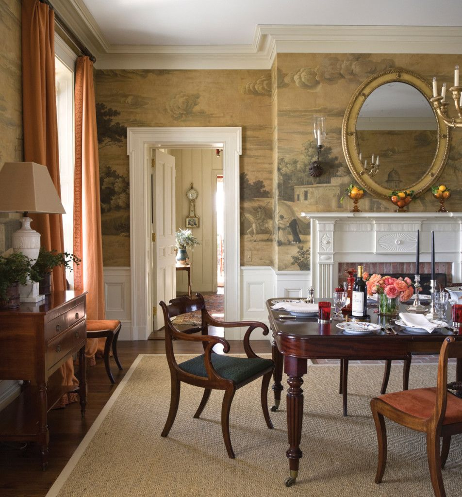 Hudson Valley, New York, Dining Room With Scenic Wallpaper
