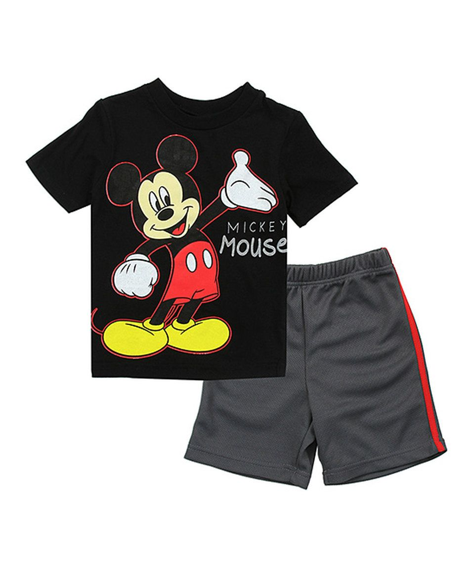 62edb8643 Take a look at this Penguin Kids Wear Black Mickey Mouse Tee & Shorts -  Toddler today!