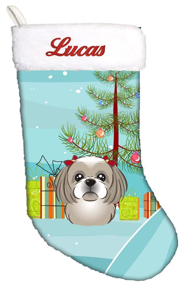 Personalized Christmas Tree and Gray Silver Shih Tzu Christmas Stocking BB1622CS
