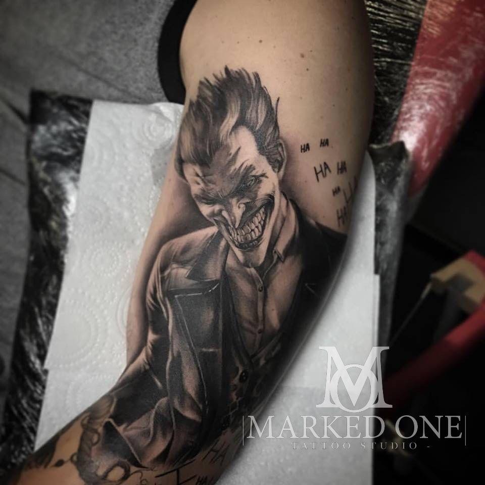 Flaming art tattoo for geek tattoo lovers this kind of batman - The Joker Arm Tattoo Batman Sleeve Detailed Black And Grey Tattoo By Adam Thomas