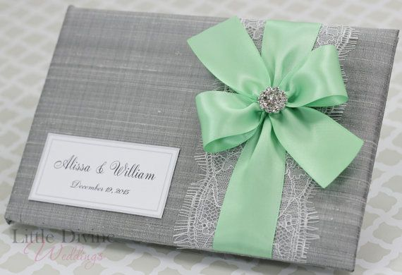 Silver Wedding Guest Book Mint Green Ribbon Lace By Littledivine