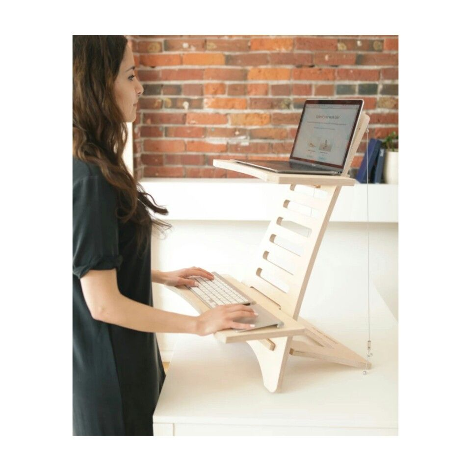 freelancer lifestyle standingdesk portable coffice in health desk green pin sustainable standing posture wood design minimalist work