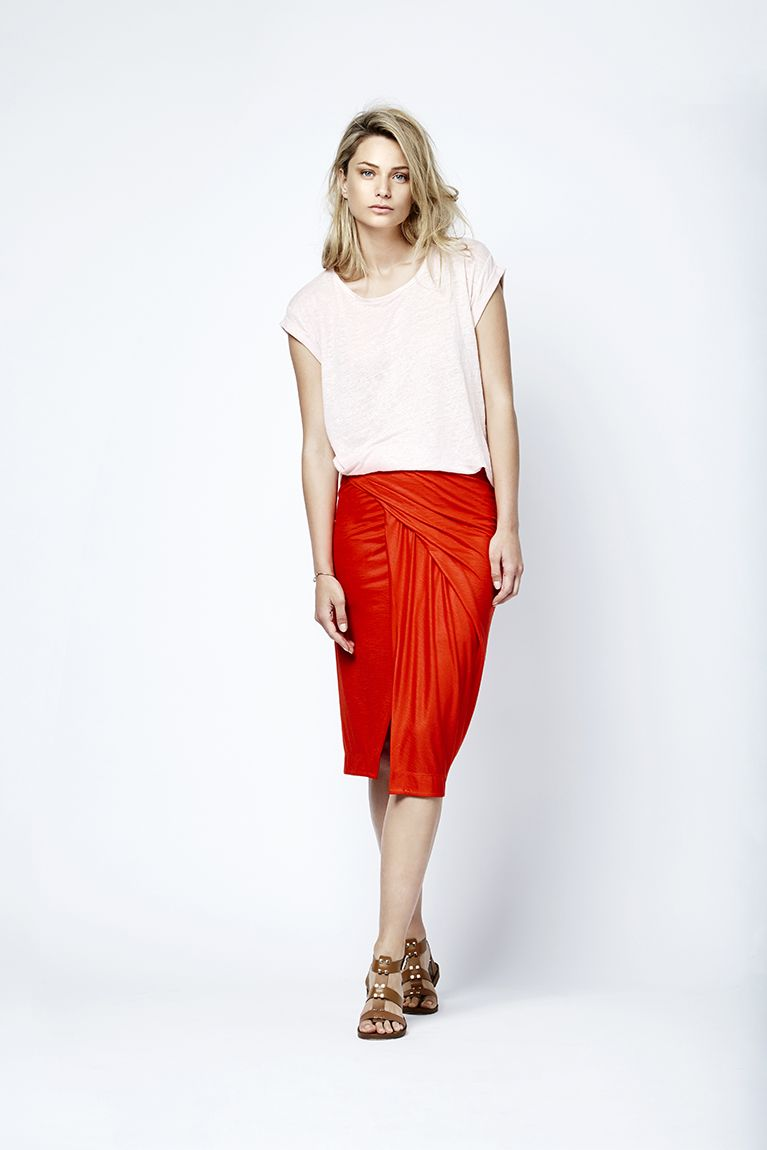 Foil printed tee called the guinee with the Olivia pleated skirt.  Fashion // clothing // woman // inspiration // www.dante6.com