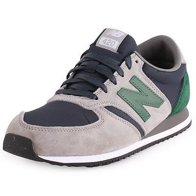 New Balance 420 Mens Suede & Nylon Grey Green Trainers New Shoes All Sizes