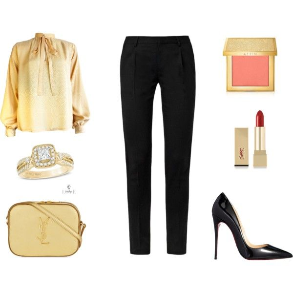 BUSINESS WOMAN by stylev on Polyvore featuring moda, Yves Saint Laurent, Christian Louboutin and AERIN