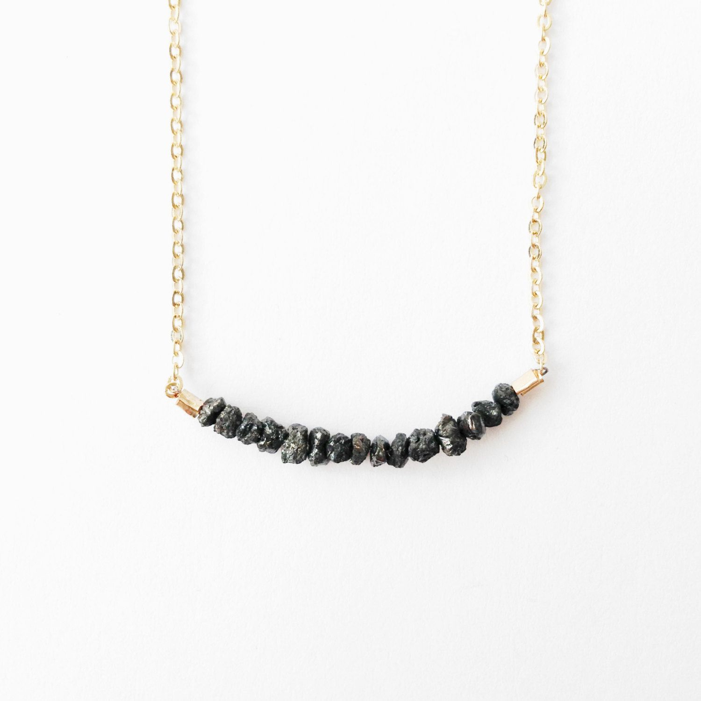 1 Carat Rough Black Diamond Necklace