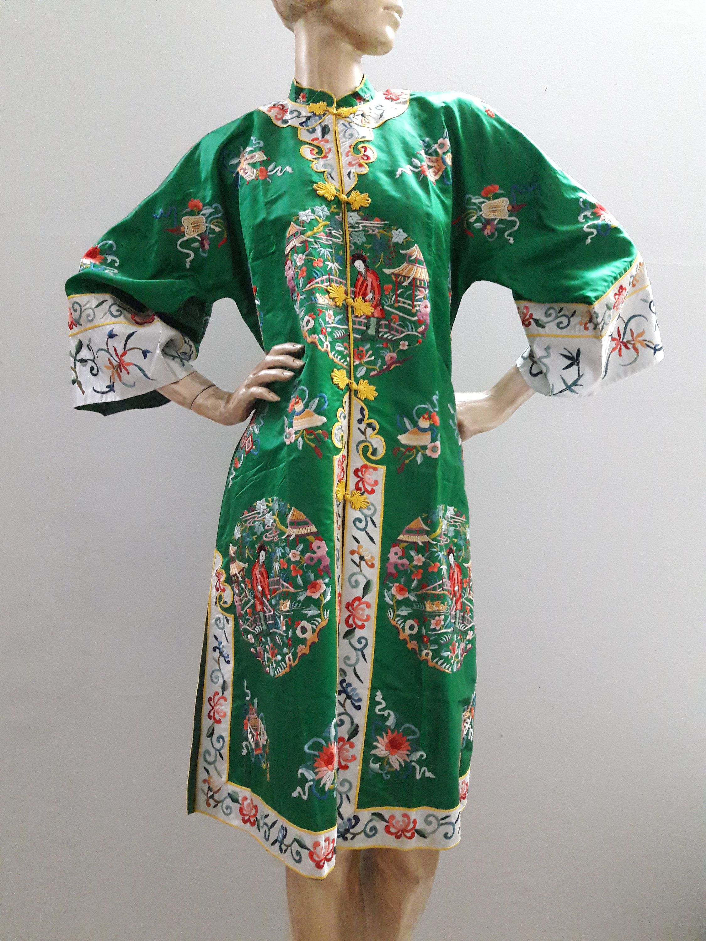 f226526ae20 Esme Chinese Embroidered Robe, Green Silk & rayon, Vintage Asian jacket coat,  Evening retro glamour pajamas lounge wear, Women's L/XL unisex