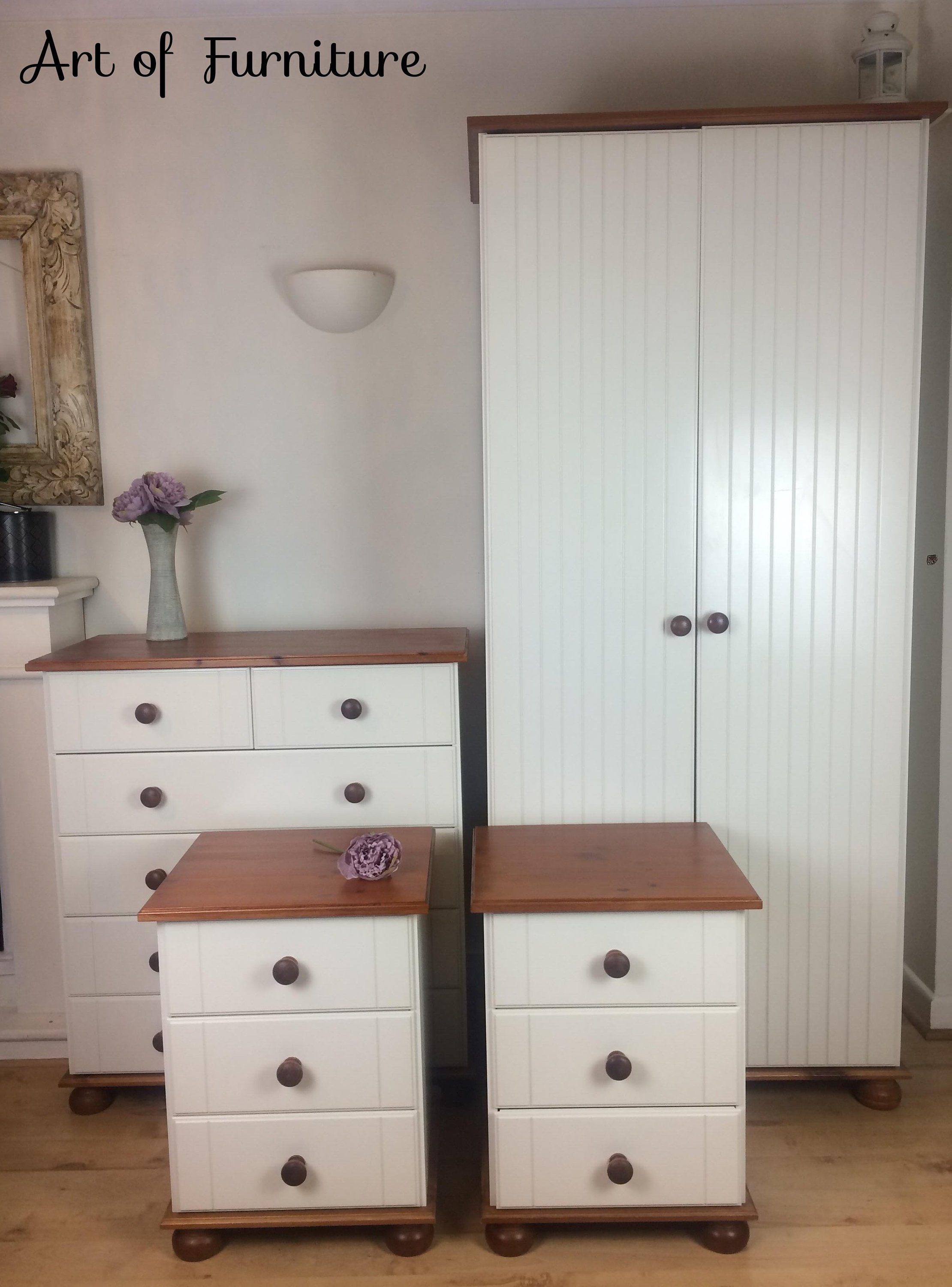 Solid rustic country bedroom furniture set of wardrobe chest of