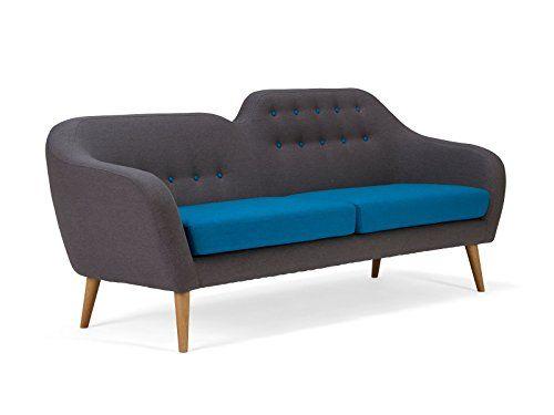 canap style rtro tissu gris et bleu - Canape Retro