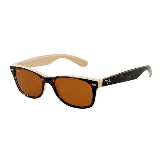 Amazon.com: Ray-Ban RB2132 New Wayfarer Sunglasses, Black Rubber ...