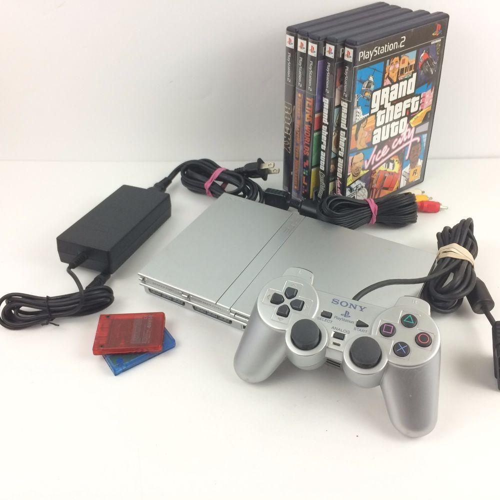 Ebay Uk: Sony PlayStation 2 Slim Silver Bundle W/ Dualshock 2 PS2